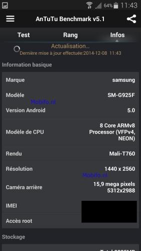 Spesifikasi Galaxy S6 Kembali Muncul di ScreenshotAnTuTu